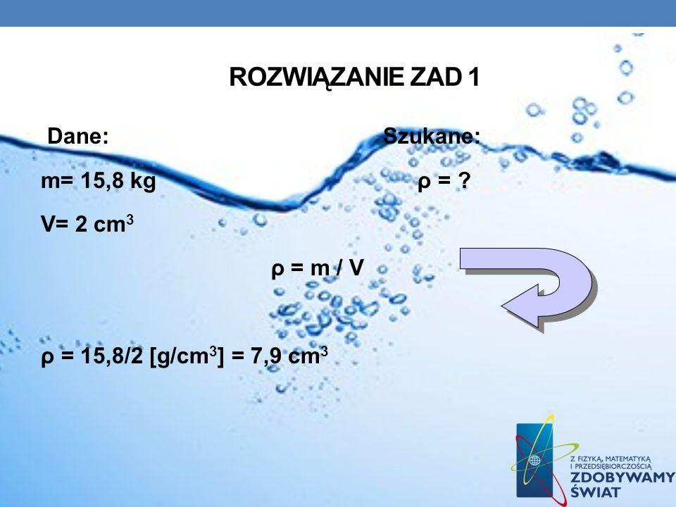 Rozwiązanie zad 1 Dane: Szukane: m= 15,8 kg ρ = V= 2 cm3 ρ = m / V ρ = 15,8/2 [g/cm3] = 7,9 cm3